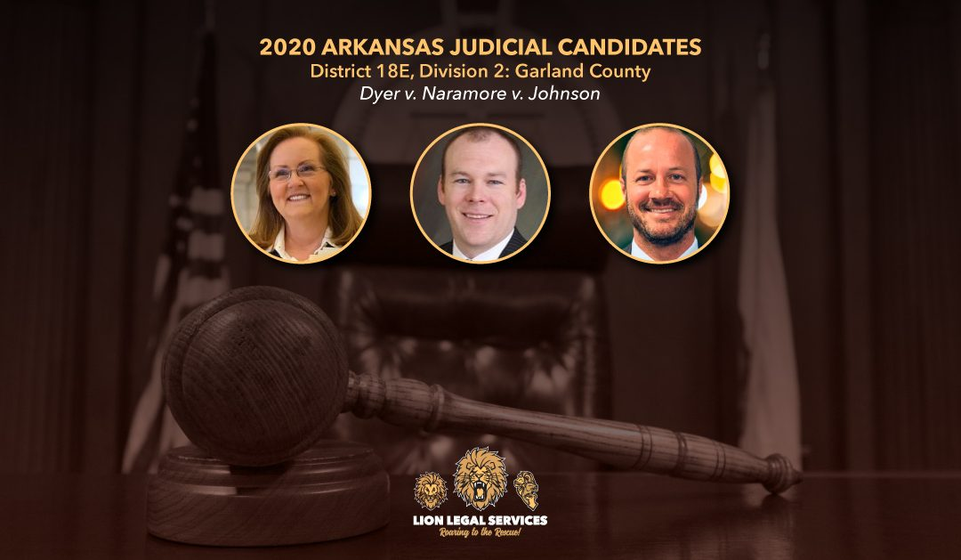 Image of three candidates running for circuit judge in Arkansas district 18E, Div. 2