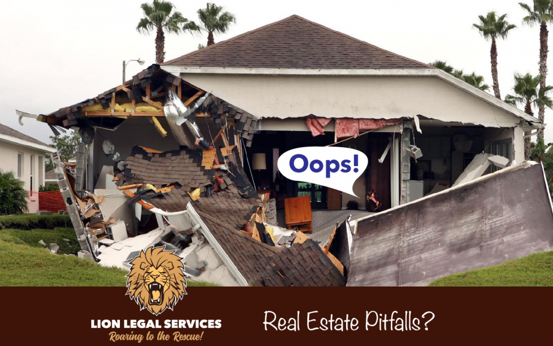 Photo of house falling into sinkhole. How to avoid real estate purchase pitfalls.