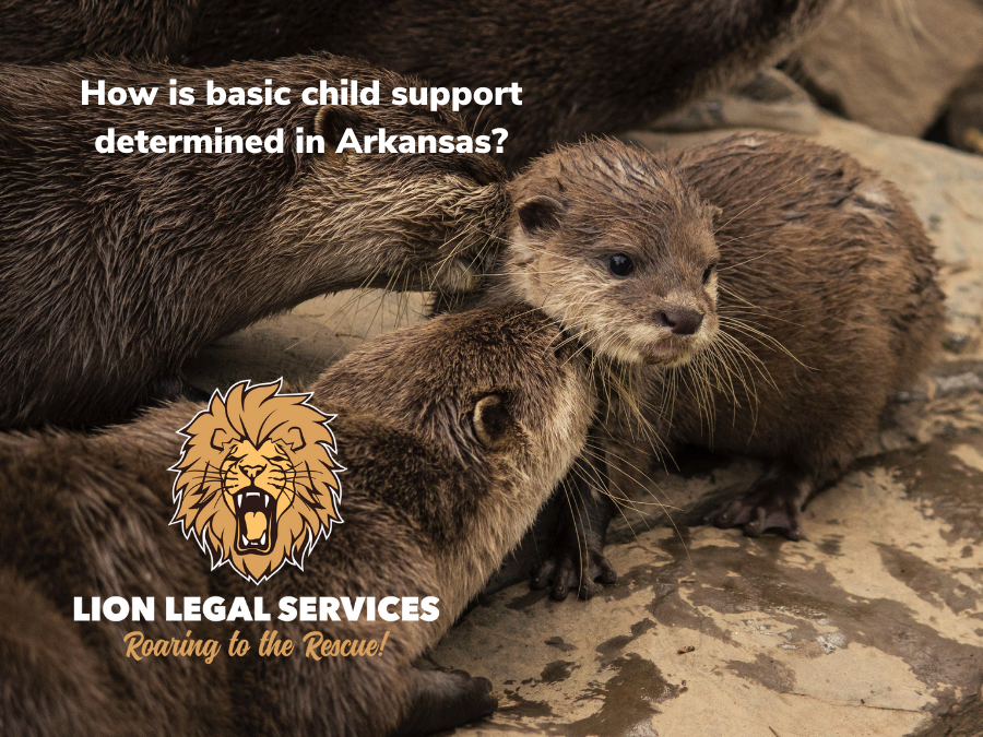 """This photo of a family of otters is on the cover slide for the blog article, """"How is basic child support determined in Arkansas?"""""""