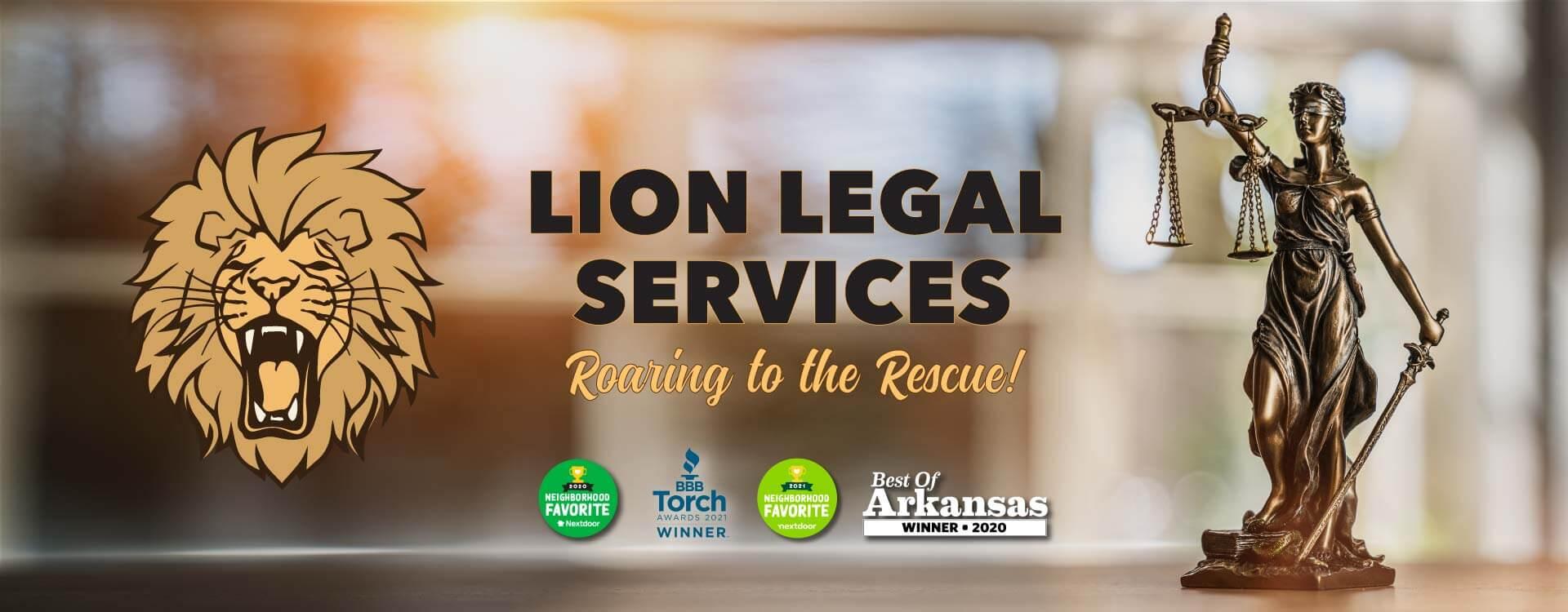 Cover slide for Lion Legal Services, a general practice firm serving Central Arkansas.